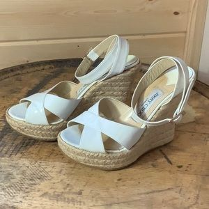 Jimmy Choo Phoenix wedge white sandals size 7